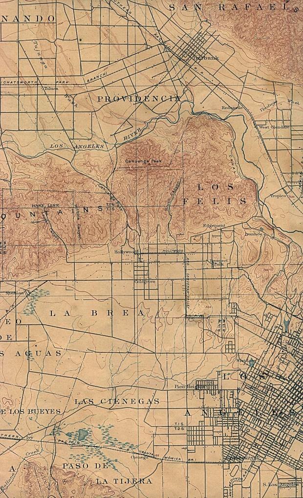 Mapa de la Ciudad de Los Angeles (Oeste), California, Estados Unidos 1902