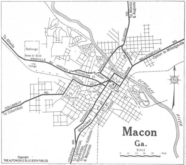 Mapa de la Ciudad de Macon, Georgia, Estados Unidos 1919