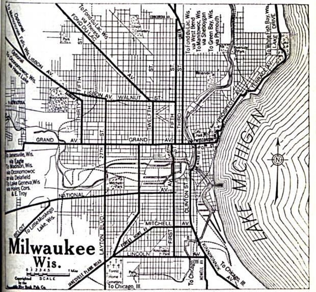 Mapa de la Ciudad de Milwaukee, Wisconsin, Estados Unidos 1920