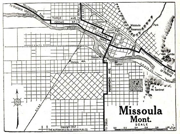 Mapa de la Ciudad de Missoula, Montana, Estados Unidos 1917
