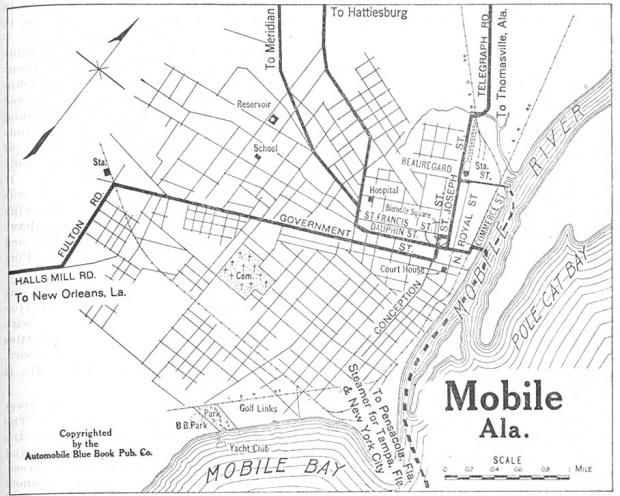 Mapa de la Ciudad de Mobile, Alabama, Estados Unidos 1919