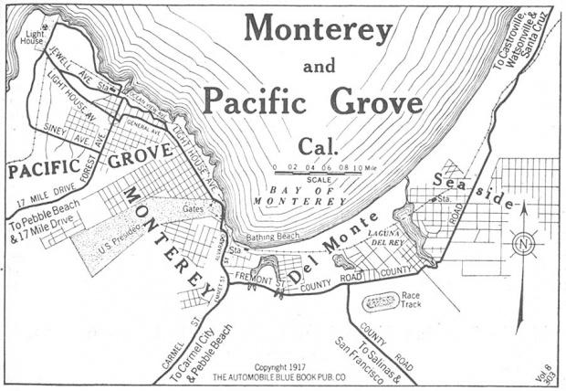 Mapa de la Ciudad de Monterey y Pacífico Grove, California, Estados Unidos 1917