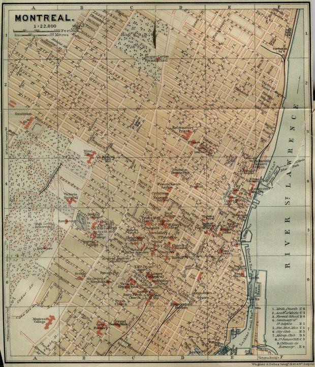 Mapa de la Ciudad de Montreal, Quebec, Canadá 1894