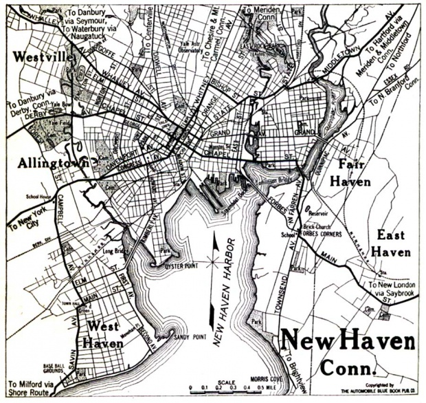 Mapa de la Ciudad de New Haven, Connecticut, Estados Unidos 1920