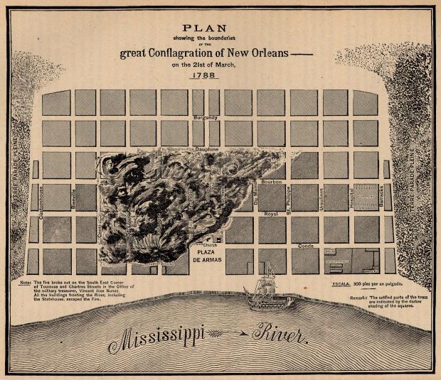 Mapa de la Ciudad de Nueva Orleans, Luisiana, Estados Unidos 1788