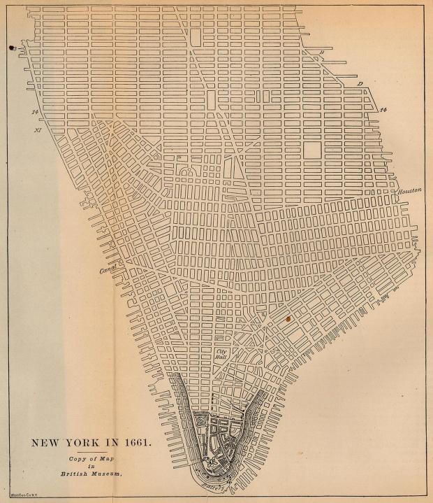 Mapa de la Ciudad de Nueva York, Nueva York, Estados Unidos 1661