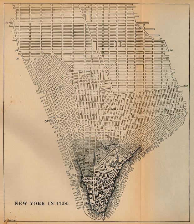 Mapa de la Ciudad de Nueva York, Nueva York, Estados Unidos 1728