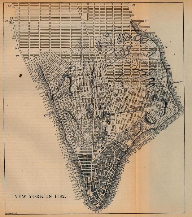 Mapa de la Ciudad de Nueva York, Nueva York, Estados Unidos 1782