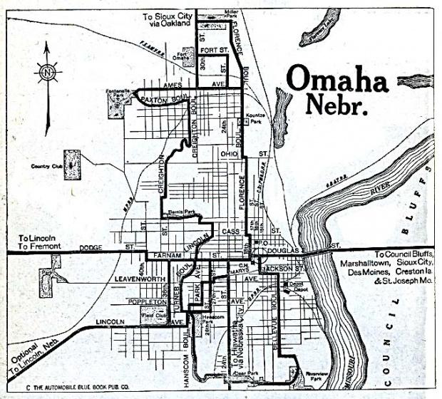 Mapa de la Ciudad de Omaha City, Nebraska, Estados Unidos 1920