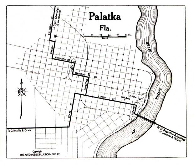 Mapa de la Ciudad de Palatka, Florida, Estados Unidos 1919