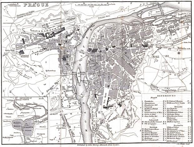Mapa de la Ciudad de Praga 1858