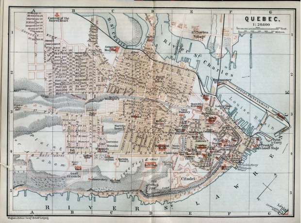 Mapa de la Ciudad de Quebec, Canadá 1894