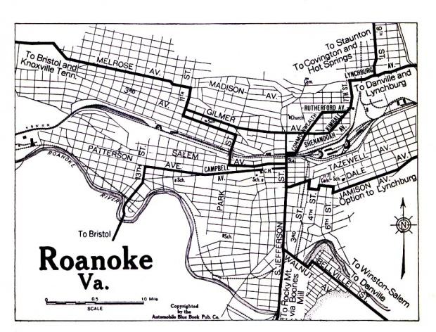 Mapa de la Ciudad de Roanoke, Virginia, Estados Unidos 1919