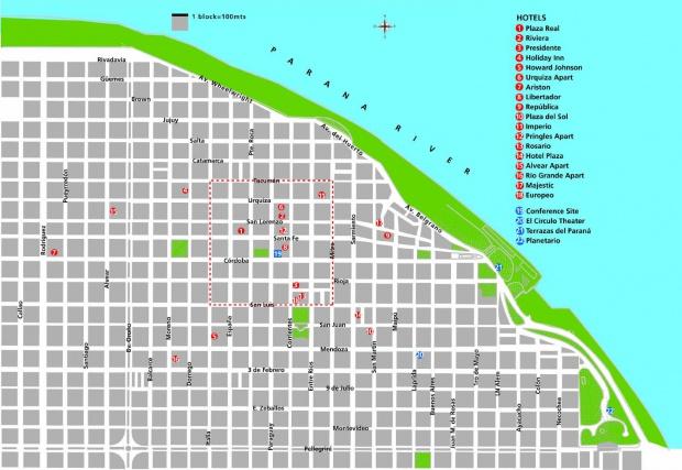 Mapa de la Ciudad de Rosario, Prov. Santa Fé, Argentina