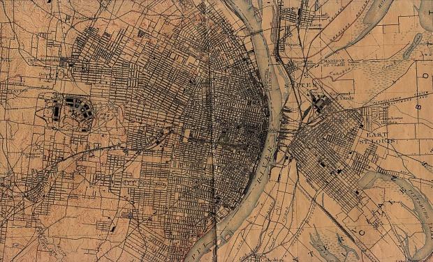 Mapa de la Ciudad de Saint Louis, Missouri, Estados Unidos 1912