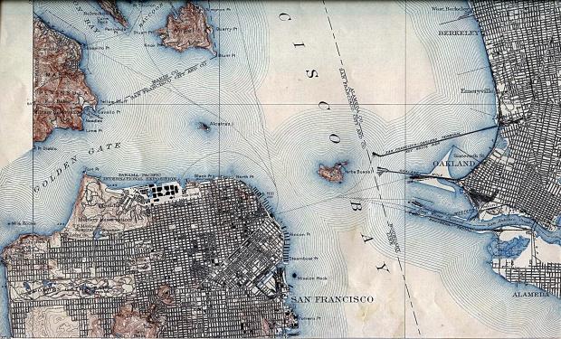 Mapa de la Ciudad de San Francisco, California, Estados Unidos 1915
