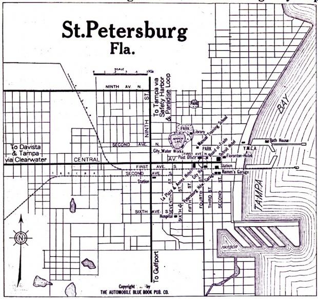 Mapa de la Ciudad de San Petersburgo, Florida, Estados Unidos 1919