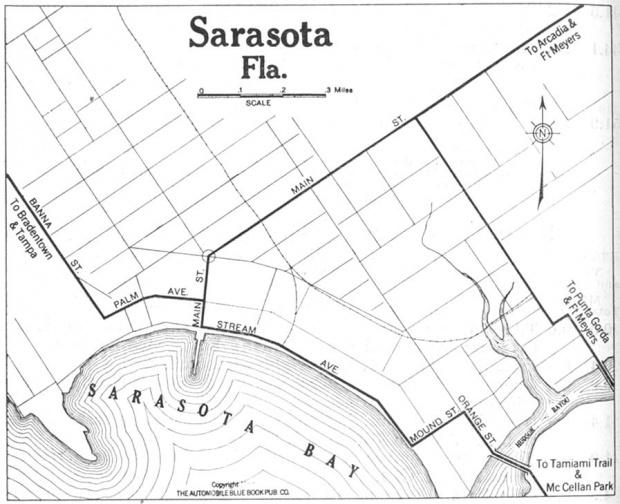 Mapa de la Ciudad de Sarasota, Florida, Estados Unidos 1919