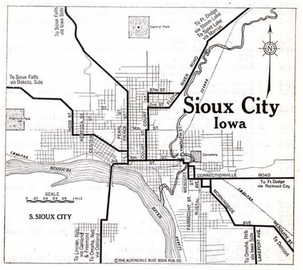 Mapa de la Ciudad de Sioux City, Iowa, Estados Unidos 1920