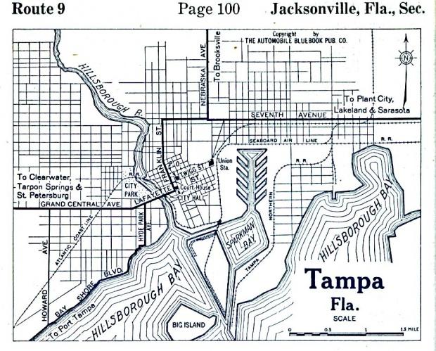 Mapa de la Ciudad de Tampa, Florida, Estados Unidos 1919