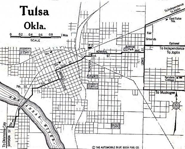 Mapa de la Ciudad de Tulsa, Oklahoma, Estados Unidos 1920