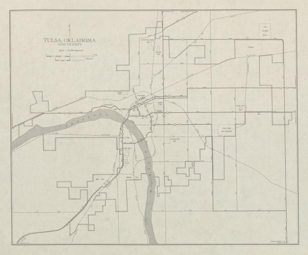 City Map of Tulsa and Vicinity, Oklahoma, United States 1947