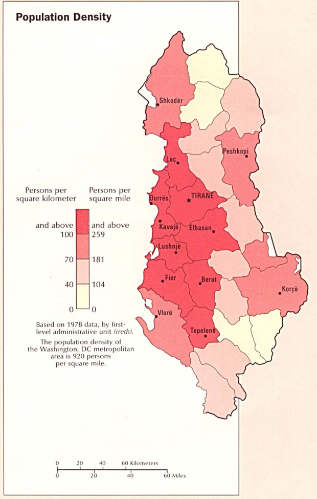 Albania Population Density Map
