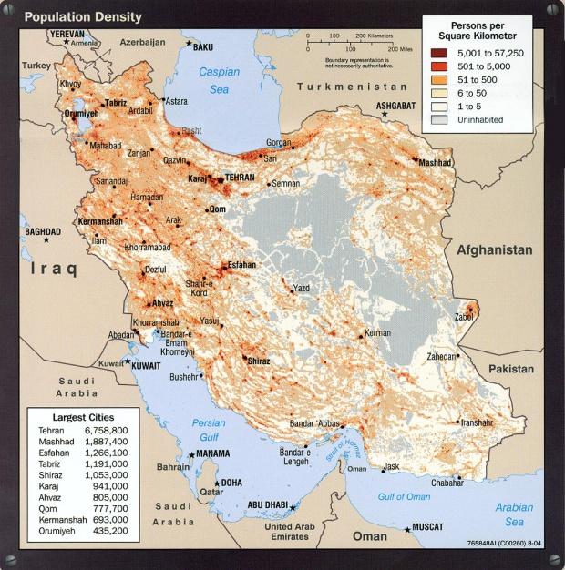 Iran Population Density Map
