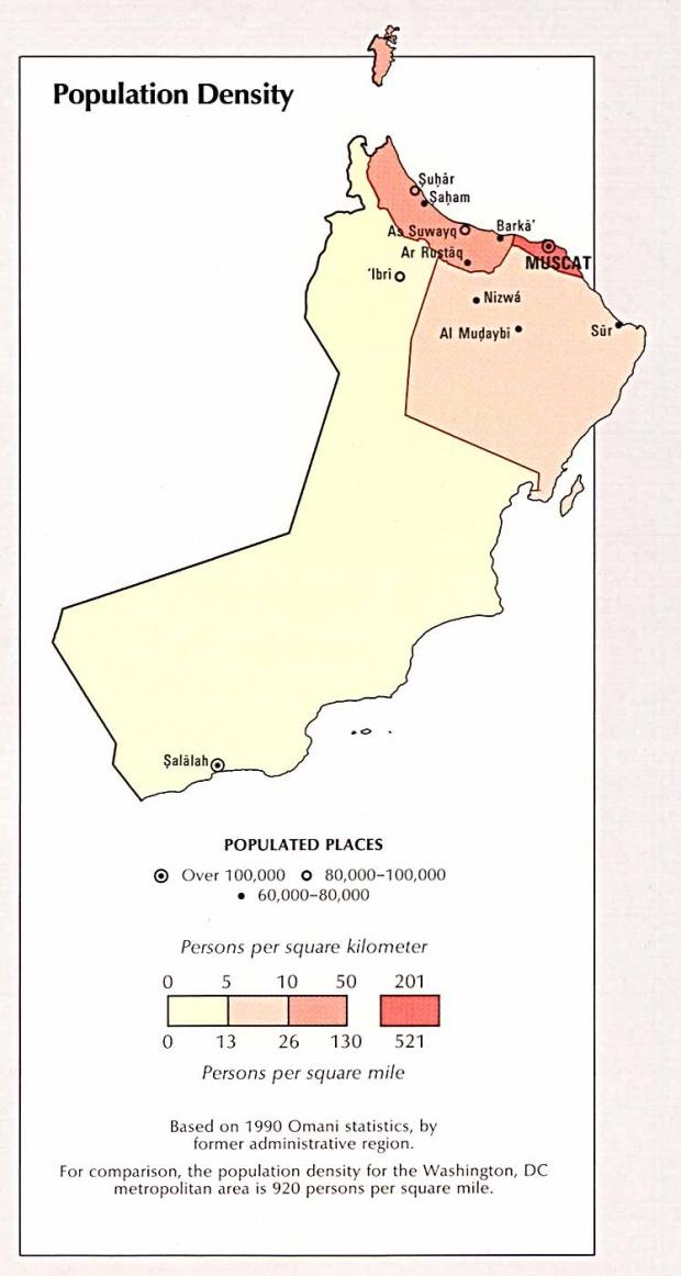 Oman Population Density Map