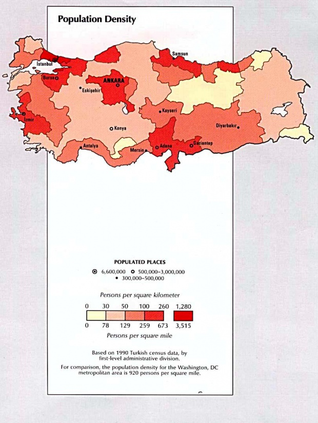 Turkey Population Density Map