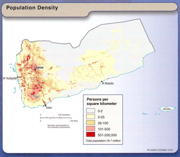 Yemen Population Density Map