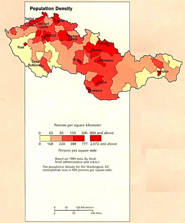 Former Czechoslovakia Population Density Map, August 1990
