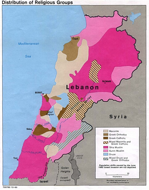 Lebanon Distribution of Religious Groups Map