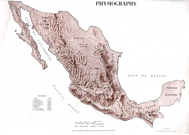 Physiography Map, Mexico