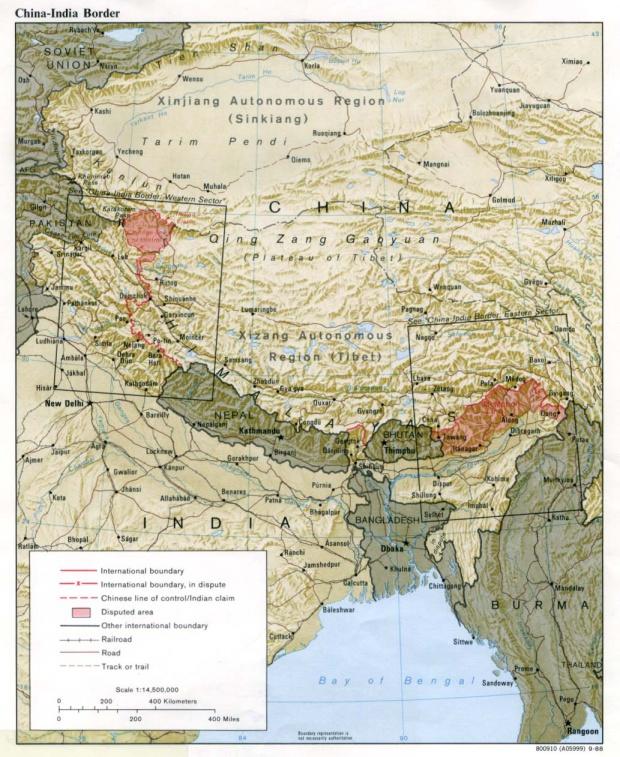 China - India Border Map