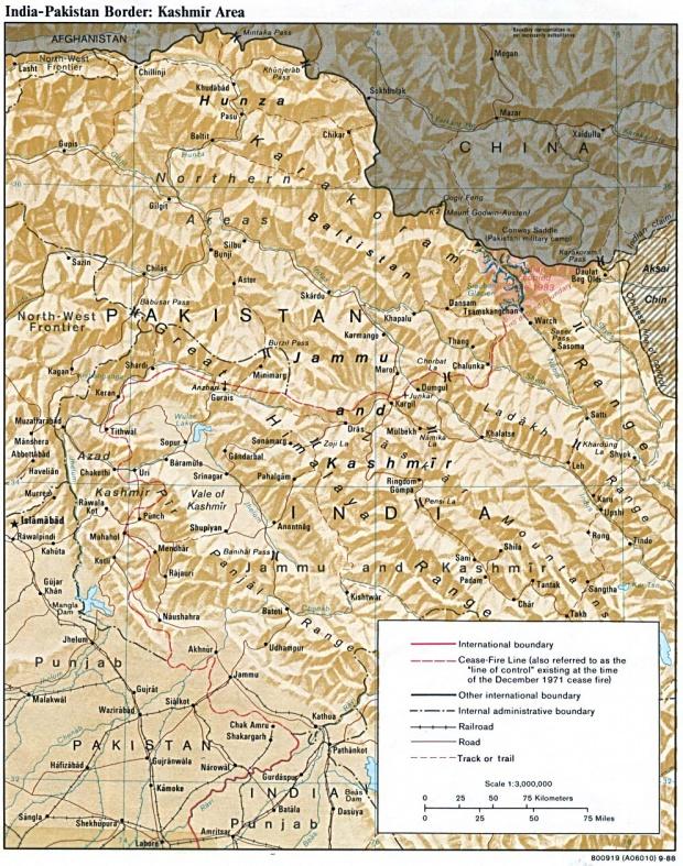 India - Pakistan Border Map in the Kashmir Area 1988
