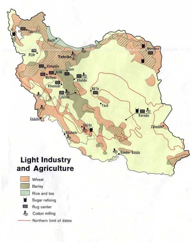 Iran Light Industry and Agriculture Map