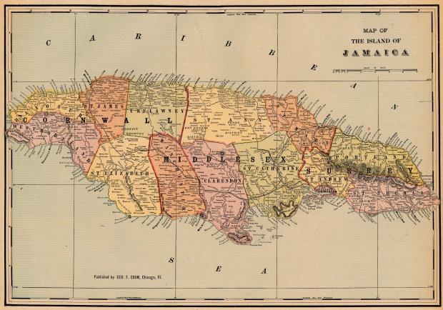 Mapa de la Isla de Jamaica 1901