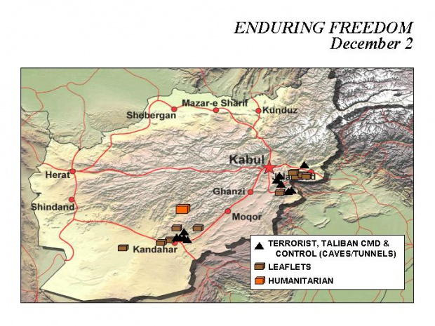 Enduring Freedom Map, Afghanistan 2 December 2001