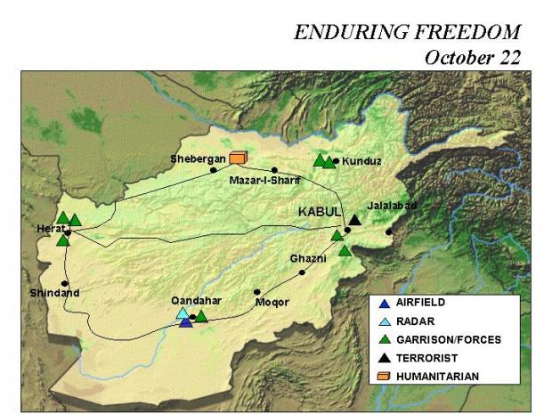 Mapa de la Operación Enduring Freedom, Afganistán 22 Octubre 2001