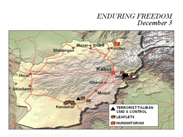 Mapa de la Operación Enduring Freedom, Afganistán 3 Diciembre 2001