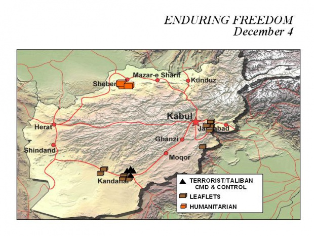 Mapa de la Operación Enduring Freedom, Afganistán 4 Diciembre 2001