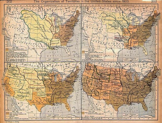 Mapa de la Organización de los Territorios en Estados Unidos Desde 1803