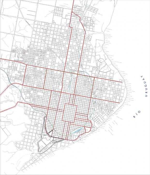 Mapa de la Planta Urbana de la Ciudad de Concordia, Prov. Entre Ríos, Argentina