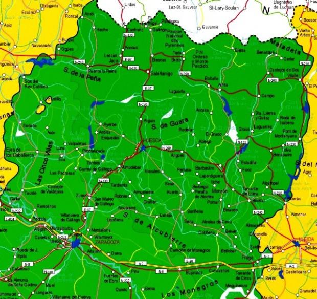 Mapa de la Provincia Huesca, España