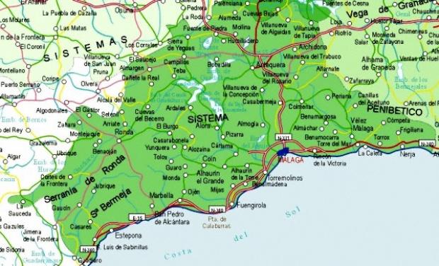 Mapa de la Provincia Málaga, España
