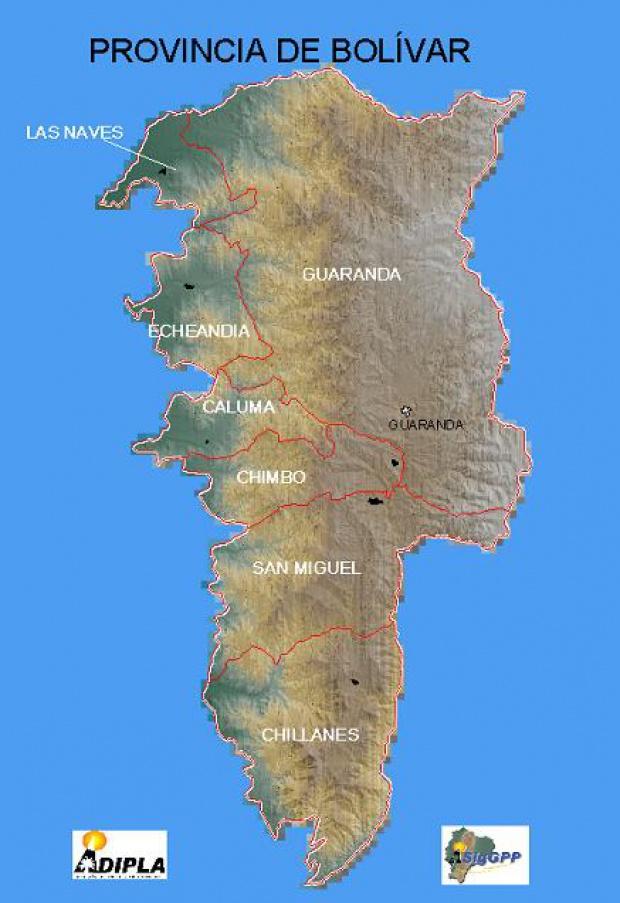 Mapa de la Provincia de Bolívar, Ecuador