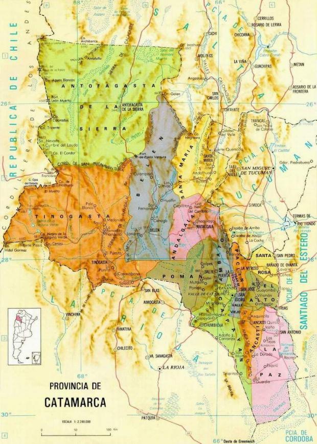 Mapa de la Provincia de Catamarca, Argentina