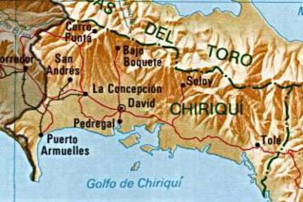Mapa de la Provincia de Chiriqui, República de Panamá