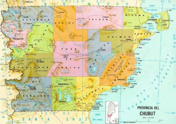 Mapa de la Provincia de Chubut, Argentina